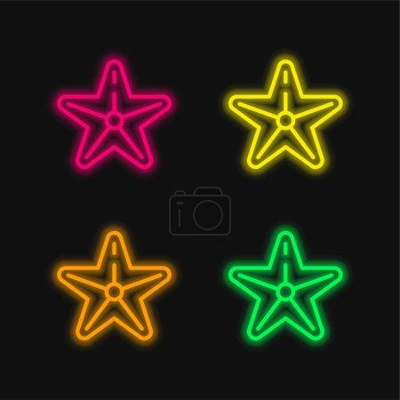 Plaża cztery kolory świecące neon wektor ikona
