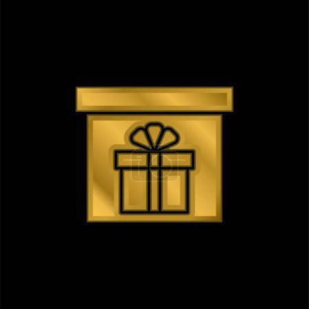 Illustration pour Boîte plaqué or icône métallique ou logo vecteur - image libre de droit