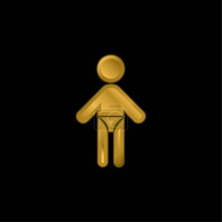 Illustration pour Bébé avec couche plaqué or icône métallique ou logo vecteur - image libre de droit