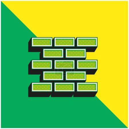 Photo pour Mur de brique Vert et jaune moderne icône vectorielle 3d logo - image libre de droit