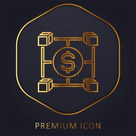 Blockchain golden line premium logo or icon