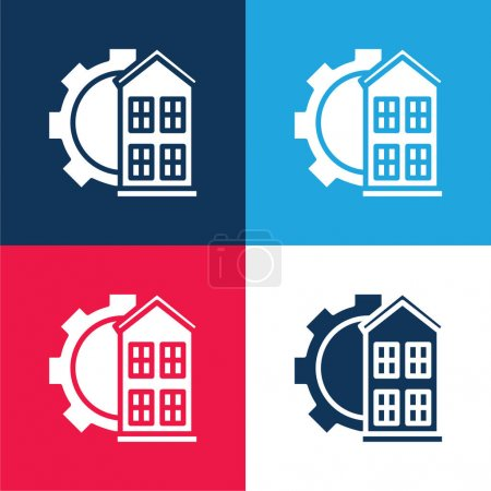 Illustration for Architectonic blue and red four color minimal icon set - Royalty Free Image