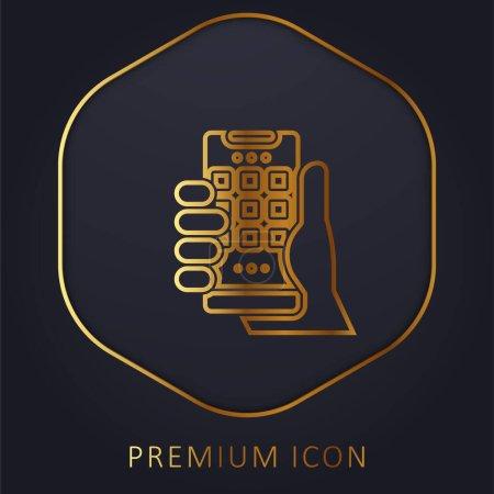 Application golden line premium logo or icon