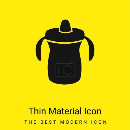 Photo pour Biberon d'entraînement pour bébé Variante minimale icône de matériau jaune vif - image libre de droit
