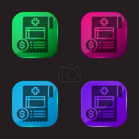 Illustration pour Bill icône de bouton en verre de quatre couleurs - image libre de droit