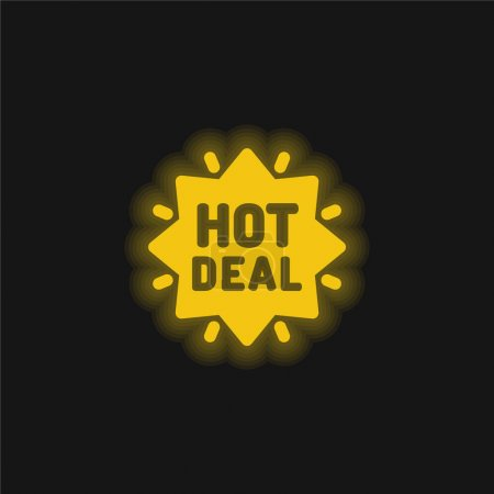 Bargains yellow glowing neon icon