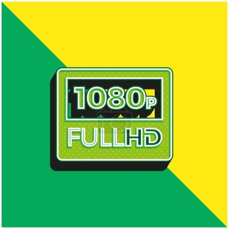 Illustration pour Logo vectoriel 3D moderne vert et jaune 1080p Full HD - image libre de droit