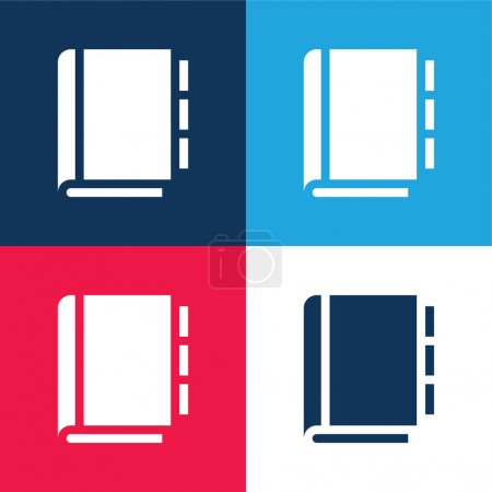 Appointment Book blue and red four color minimal icon set