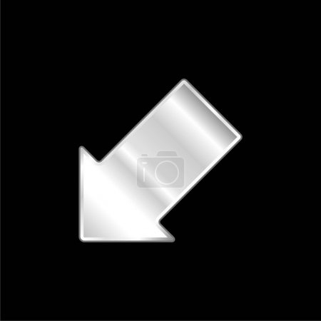 Illustration for Arrow Pointing Down Left silver plated metallic icon - Royalty Free Image
