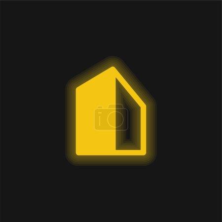 Photo pour Grand Bâtiment jaune brillant icône néon - image libre de droit