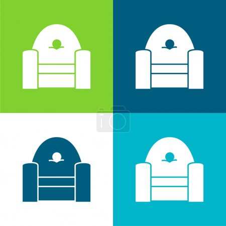 Armchair Frontal Flat four color minimal icon set