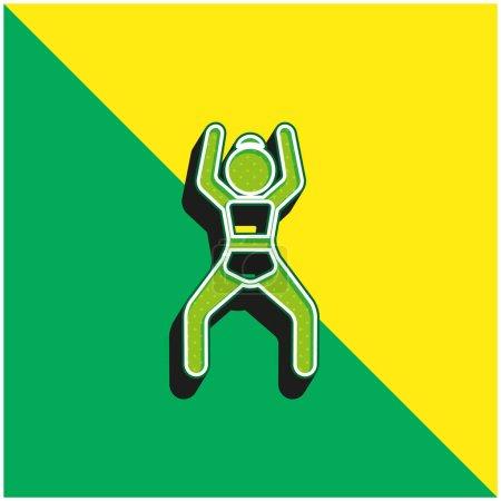 Illustration pour Position bras levés Logo vectoriel 3D moderne vert et jaune - image libre de droit