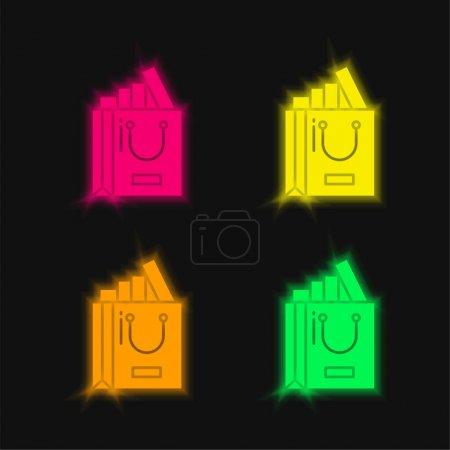 Photo pour Sac quatre couleurs brillant icône vectorielle néon - image libre de droit