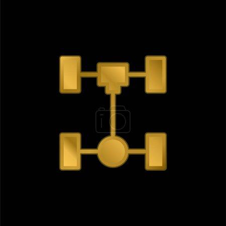 Illustration pour Essieu plaqué or icône métallique ou logo vecteur - image libre de droit