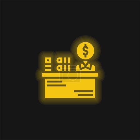 Illustration pour Gardien du livre jaune brillant icône néon - image libre de droit