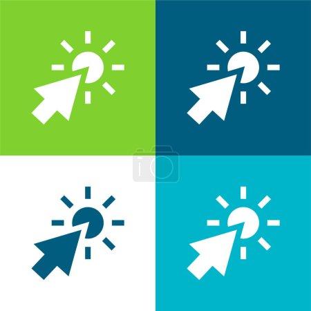 Illustration pour Flèche plat quatre couleurs minimum icône ensemble - image libre de droit
