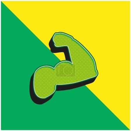 Illustration pour Biceps d'un homme vert et jaune moderne icône vectorielle 3d logo - image libre de droit