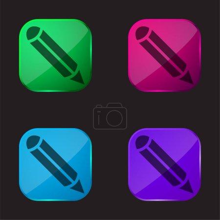 Illustration pour Stylo à encre noire icône de bouton en verre quatre couleurs - image libre de droit