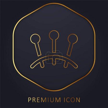 Acupuncture golden line premium logo or icon