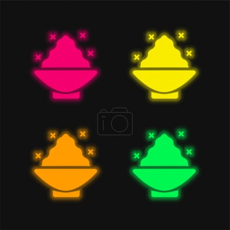 Badesalz vier Farben leuchtenden Neon-Vektor-Symbol