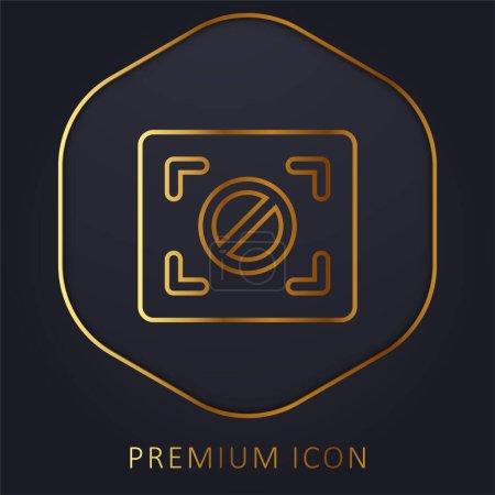 Illustration for Block Focus golden line premium logo or icon - Royalty Free Image