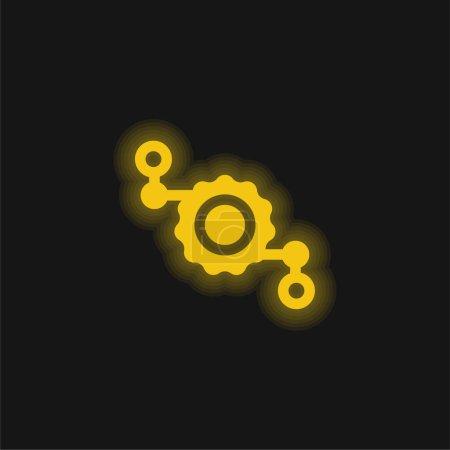 Montage gelbe leuchtende Neon-Ikone