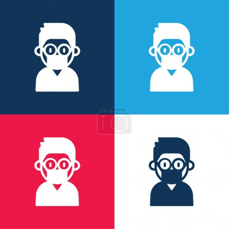 Illustration for Boy blue and red four color minimal icon set - Royalty Free Image