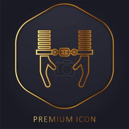 Illustration pour Arrêter ligne dorée logo premium ou icône - image libre de droit