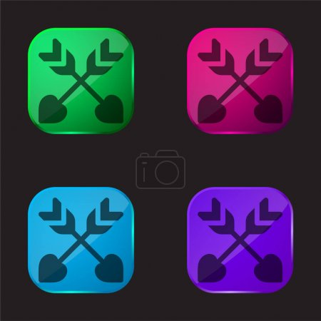 Arrows four color glass button icon
