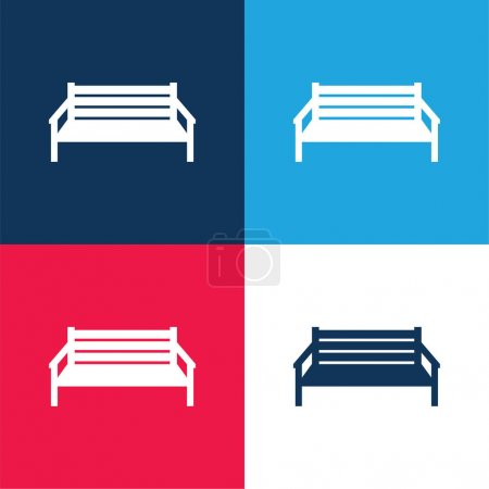 Illustration for Bench blue and red four color minimal icon set - Royalty Free Image