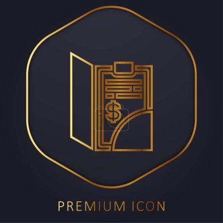 Illustration pour Bill ligne d'or logo premium ou icône - image libre de droit