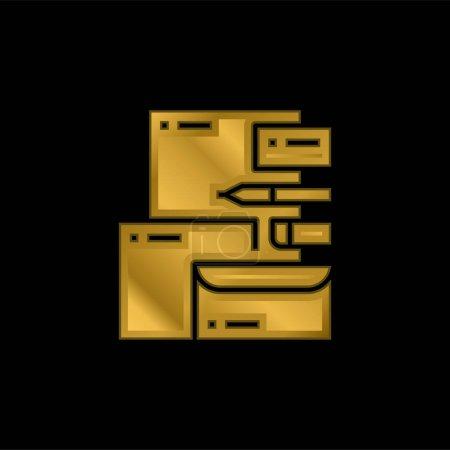 Illustration pour Marque Identité plaqué or icône métallique ou logo vecteur - image libre de droit
