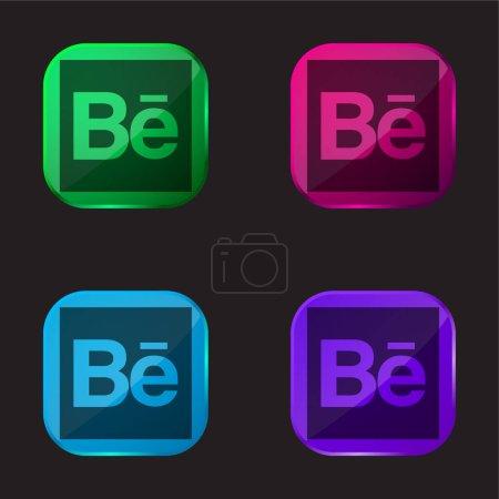 Behance Logo four color glass button icon...