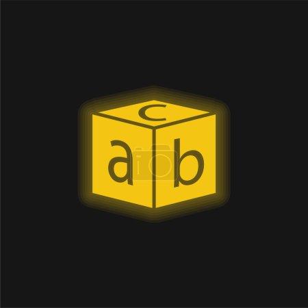 Illustration pour Bloc avec lettres jaune brillant icône néon - image libre de droit