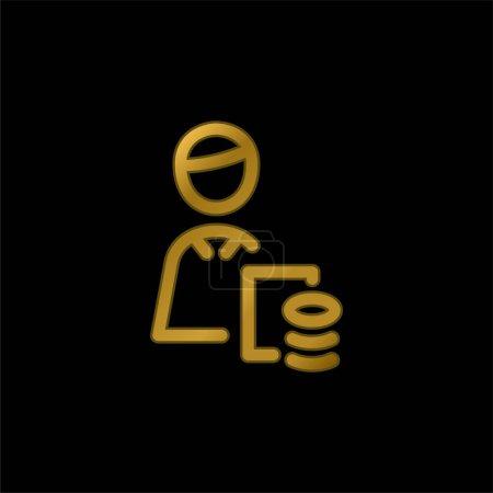 Illustration pour Icône ou logo métallique plaqué or comptable vecteur - image libre de droit