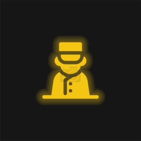 Illustration pour Bell Boy jaune brillant icône néon - image libre de droit