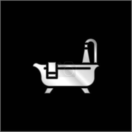 Illustration pour Baignoire Nettoyage argent plaqué icône métallique - image libre de droit