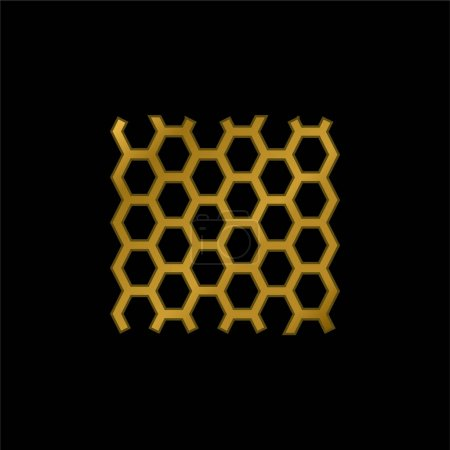 Illustration pour Panneau Abeilles Texture plaqué or icône métallique ou logo vecteur - image libre de droit