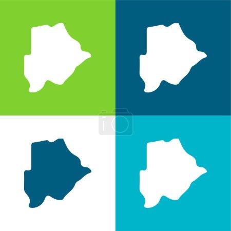 Illustration pour Botswana Ensemble d'icônes minimal plat quatre couleurs - image libre de droit