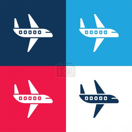 Illustration for Aeroplane blue and red four color minimal icon set - Royalty Free Image