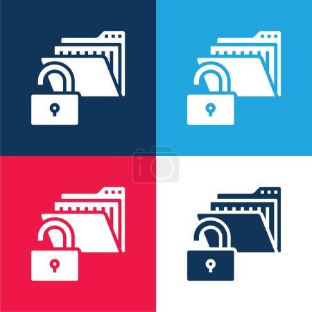 Illustration pour Ensemble d'icônes minimales bleu et rouge à quatre couleurs - image libre de droit