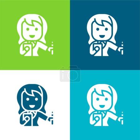 Photo pour Comptable Ensemble d'icônes minime plat quatre couleurs - image libre de droit