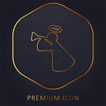 Illustration for Angel golden line premium logo or icon - Royalty Free Image