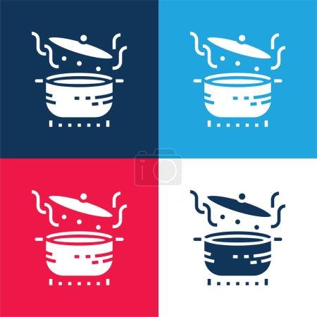 Photo pour Faire bouillir bleu et rouge quatre couleurs minimum jeu d'icônes - image libre de droit