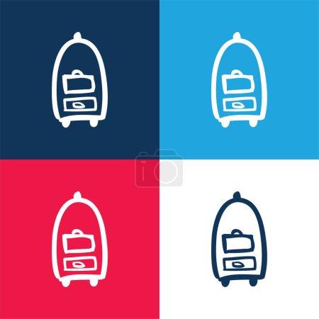 Photo pour Sacs Chariot d'hôtel Transport Outils dessinés à la main bleu et rouge ensemble d'icônes minimales de quatre couleurs - image libre de droit