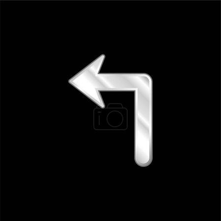 Illustration pour Flèche de grande taille se tournant vers l'icône métallique argentée à gauche - image libre de droit