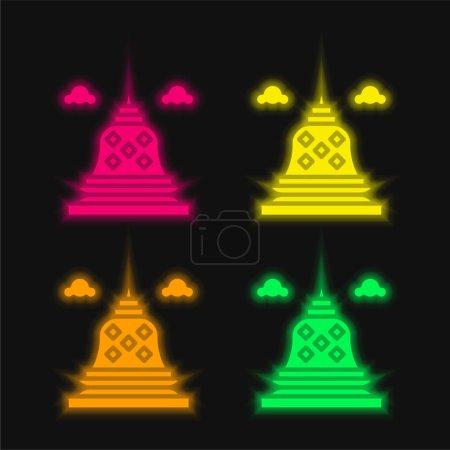 Borobudur four color glowing neon vector icon