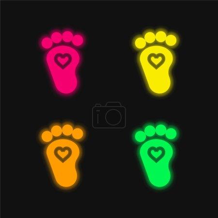 Illustration pour Bébé quatre couleurs brillant icône vectorielle néon - image libre de droit