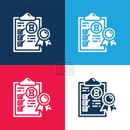 Illustration for Assurance blue and red four color minimal icon set - Royalty Free Image
