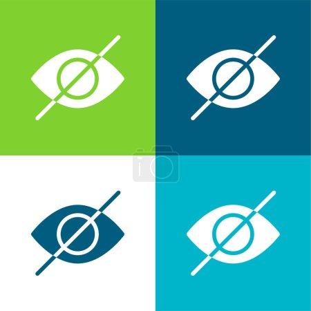 Illustration pour Aveugle plat quatre couleurs minimum icône ensemble - image libre de droit